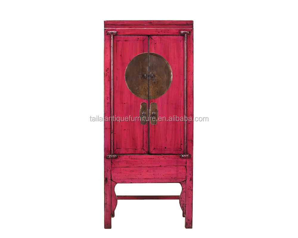 Antique Chinese 18th Century Hand Painted pink Cabinet wardrobe