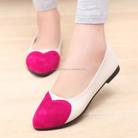 Factory Free shipping 2016 spring Women's shoes European and American style Pointed flat shoes Pale peach heart of single shoes
