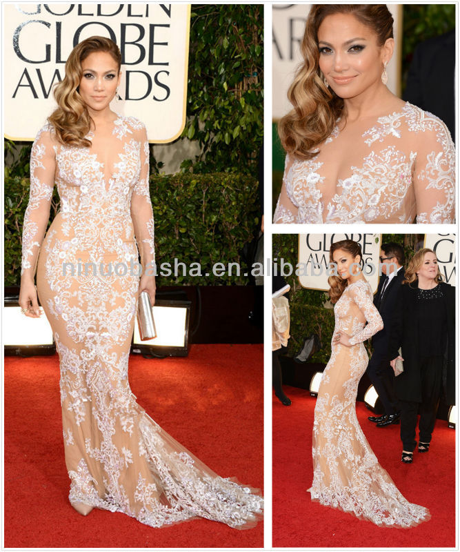 Hot 2014 Jennifer Lopez Red Carpet Celebrity Evening Dress Sheer Long Sleeve White Applique Champagne Tulle Long Gowns NB023