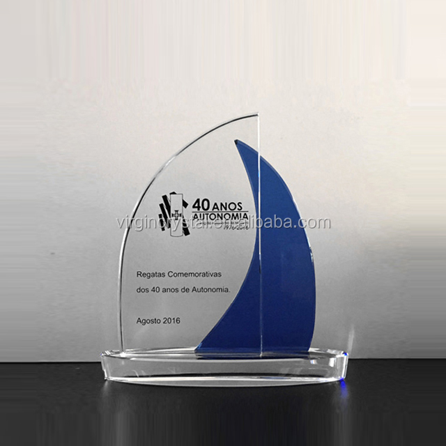Blank optical crystal sailing boat shape trophy awards for Sports Souvenirs