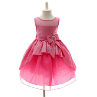 Girls ball gown little queen short front and long back tulle dress, flower girls dress rose color