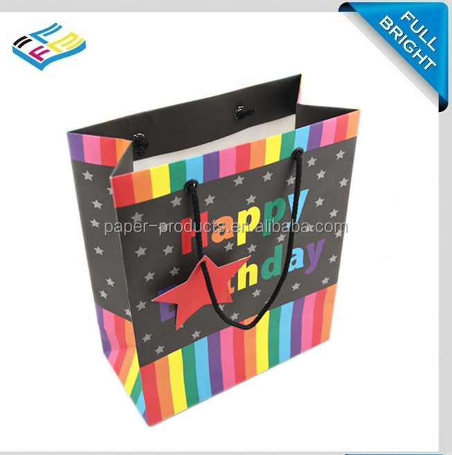 Bright colorful graphic reuseable art paper bag with handle for birthday Christmas gift