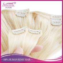 Wholesale 100% real human girls use clip human hair extension blonde easy clips hair extensions weave