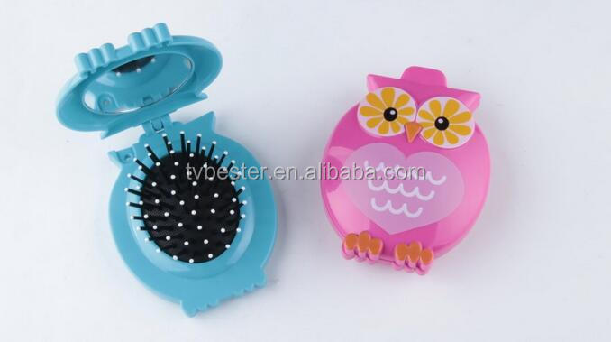 owl foldable hair brush with mirror
