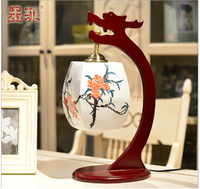 Chinese ceramics hand-painted vintage wooden desk lamp Traditional