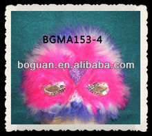 Wholesale Decorative White&Purple Marabou Feather Party Mask