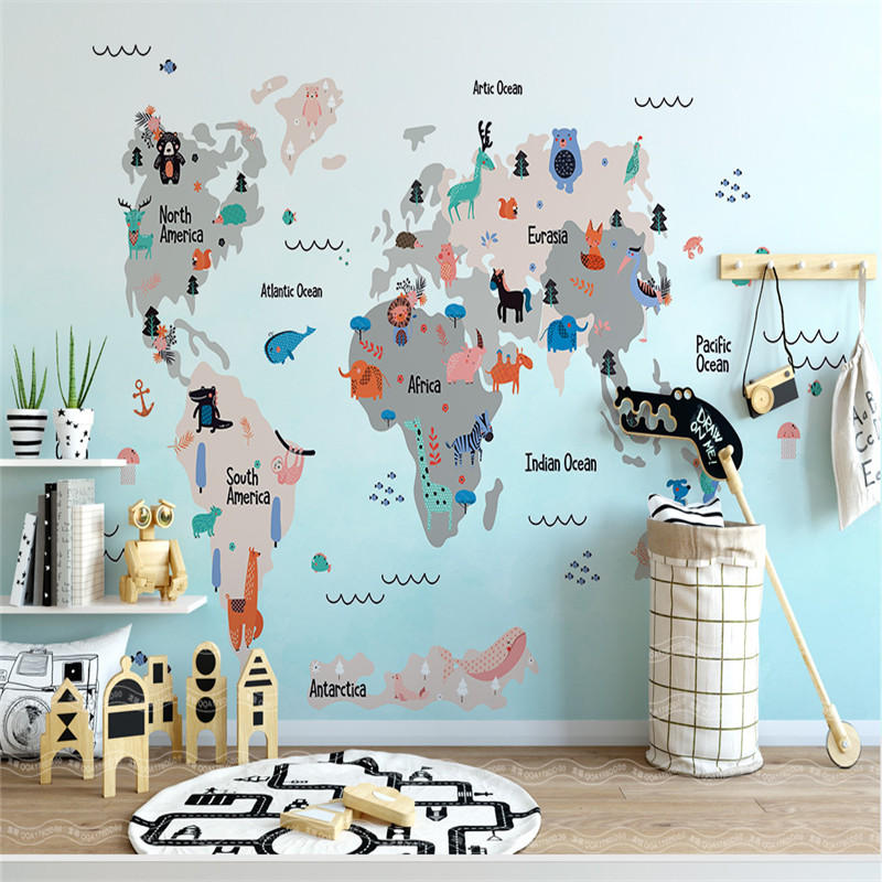 US $20.31 40% OFF World Map Wallpapers for Kids Room 3D Wall Murals Custom  Photo Wallpapers for Living Room Bedroom Home Decor Blue Walls Papers-in ...