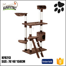 Wood fabrics cat play houses toys, natural sisal cat scratch tree