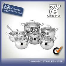 12 pcs microwave stainless steel technique cookware sets CYTG12-26-6