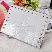 Bling bling crocodile pattern print with diamond stand smart leather sleeve case for ipad 23456 air 2 air 3