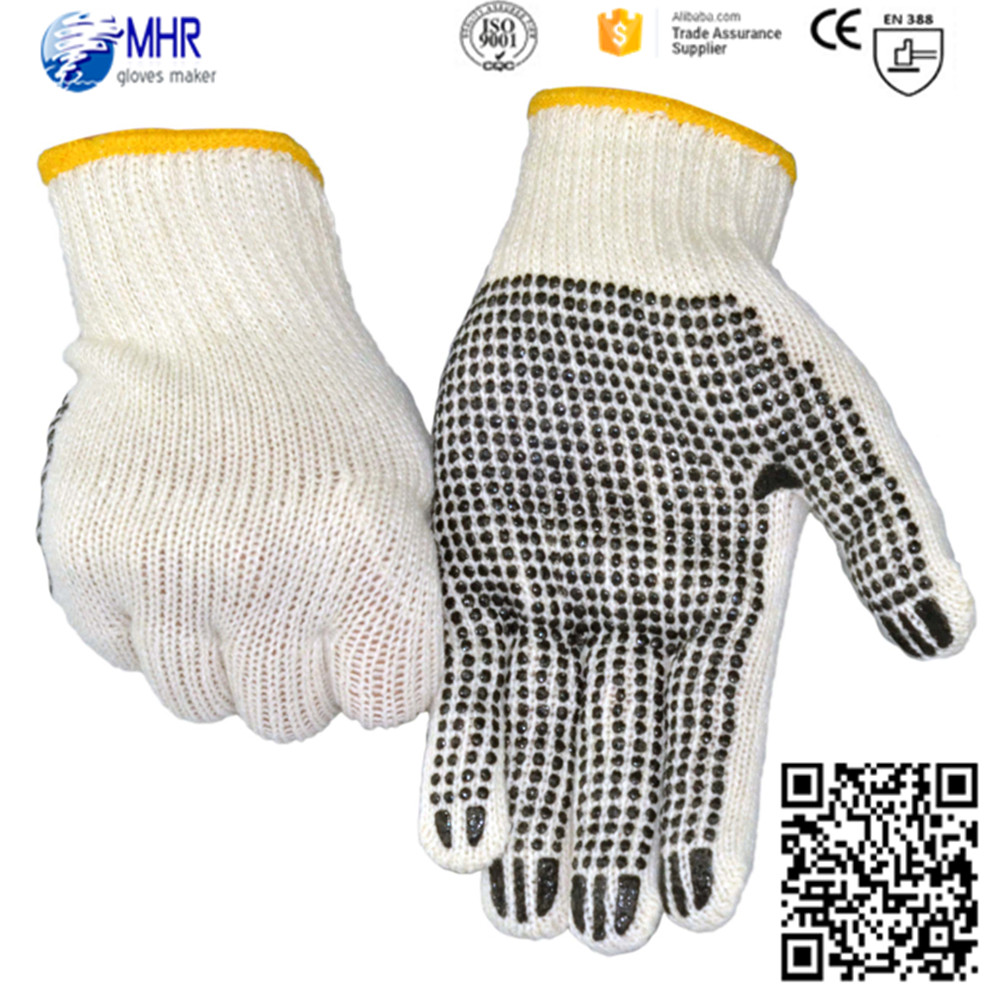 Brand MHR machine knit pvc dotted gloves cotton machine knitted work gloves with CE