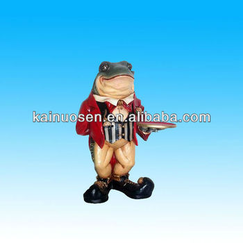 hand made resin frog butler statue