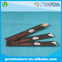 Twin Bamboo Chopsticks With Half Open Paper Sleeves
