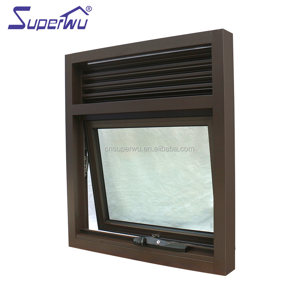 hot sale modern window grill design frost glass Aluminium Chain Winder Awning Window