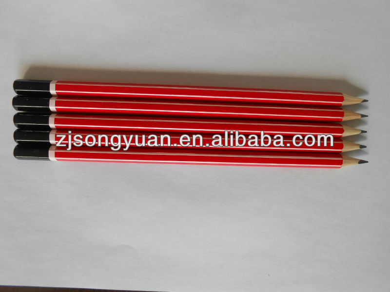 red wooden HB stripe dipped pencils