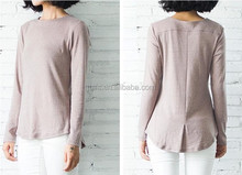 women chic slim character hem t shirt long sleeve