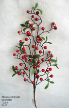 "High Quality Popular Artificial Berry Pick Christmas 29.5"" with holly leaf Ornament for Christmas house Decoration"