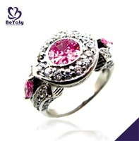hot sale fashion silver pink stone ring jewelry