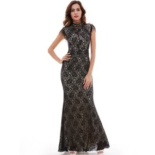 High Quality Mermaid Evening Dress Sleeveless Formal Dress Round Collar Black Long Party Dress