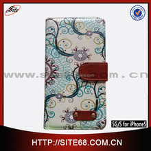 China Supplier Wholesale OEM Vintage Pattern Printed Flip Leather mobile phone case cover for Iphone 5g 5s with card slot
