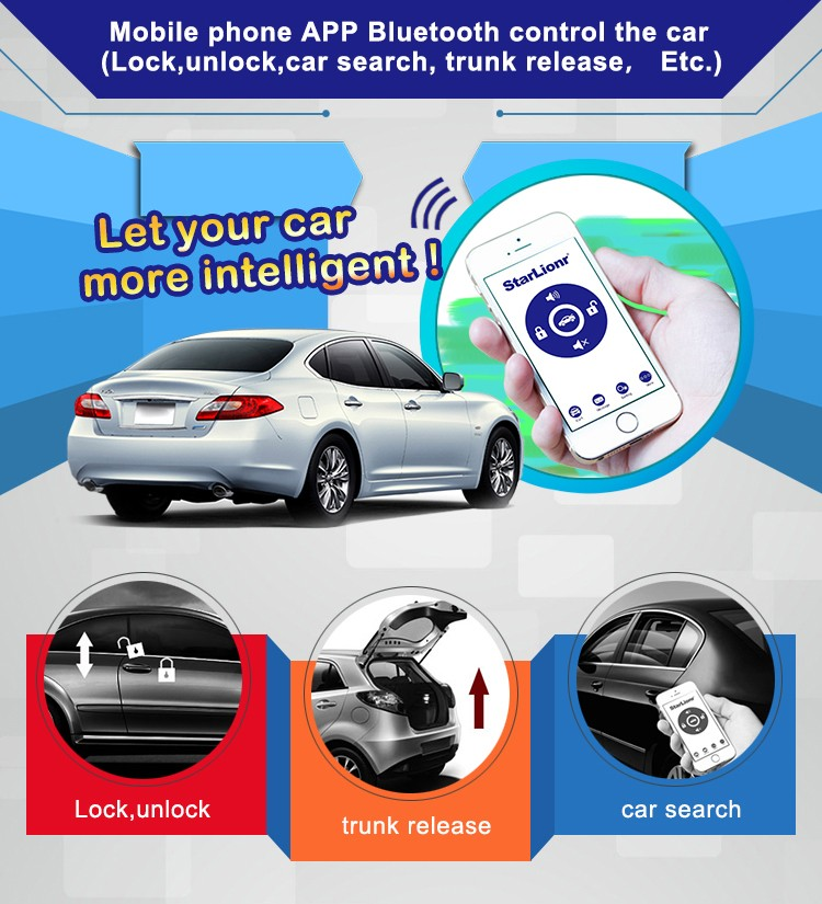 Newest GPS Tracker Car Alarm System Bluetooth Car Alarm with Starlionr Mobile APP