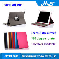hot sale jeans style 360 degree rotating PU leather flip case for iPad air for iPad 5,high quality leather stand case