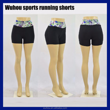 2016 Fitness high waist running printed ladies fitness shorts pants