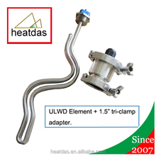 240 Volt 5500 Watt (34cm) Ripple ultra low watt density Water Heater Element Duron Style with 1.5 Inch Tri-Clamp Adapter.