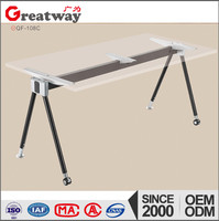 Glass used office frames with fabrics in furniture making glass office table design