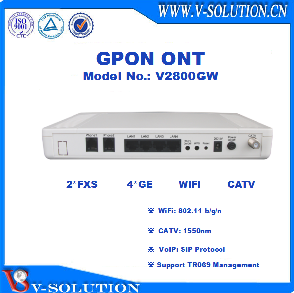 4LAN+2POTS+WiFi+CATV GPON ONT Home Gateway Support IPTV/VoIP/CATV for Triple Play Service