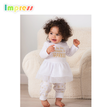 New design white printed baby summer dress designs with long pant set wholesale