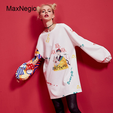 Maxnegio Spring Casual ladies Dress Names Printing Material White Dresses Garment Factory In Guangzhou