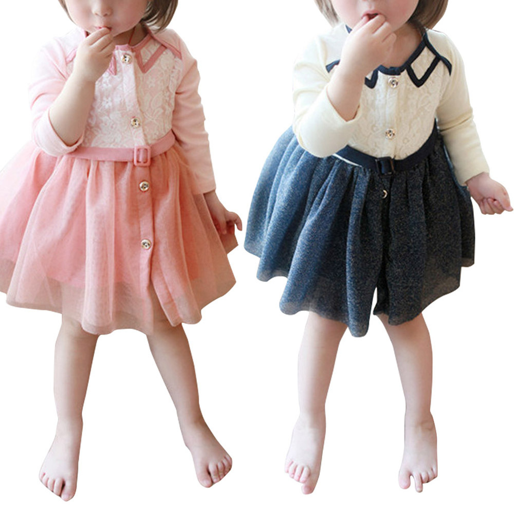 Baby Girls Dresses New Fashion 2014 Spring &Autumn &Summer Infant Princess Vestidos Children Girl Chiffon Botton Clothing