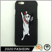 Dog image cell phone case black leather cell phone case made in China