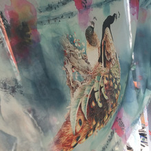 China suppliers 100%poly semitransparent 75D peacock pattern printed silk chiffon fabric for maxi dress