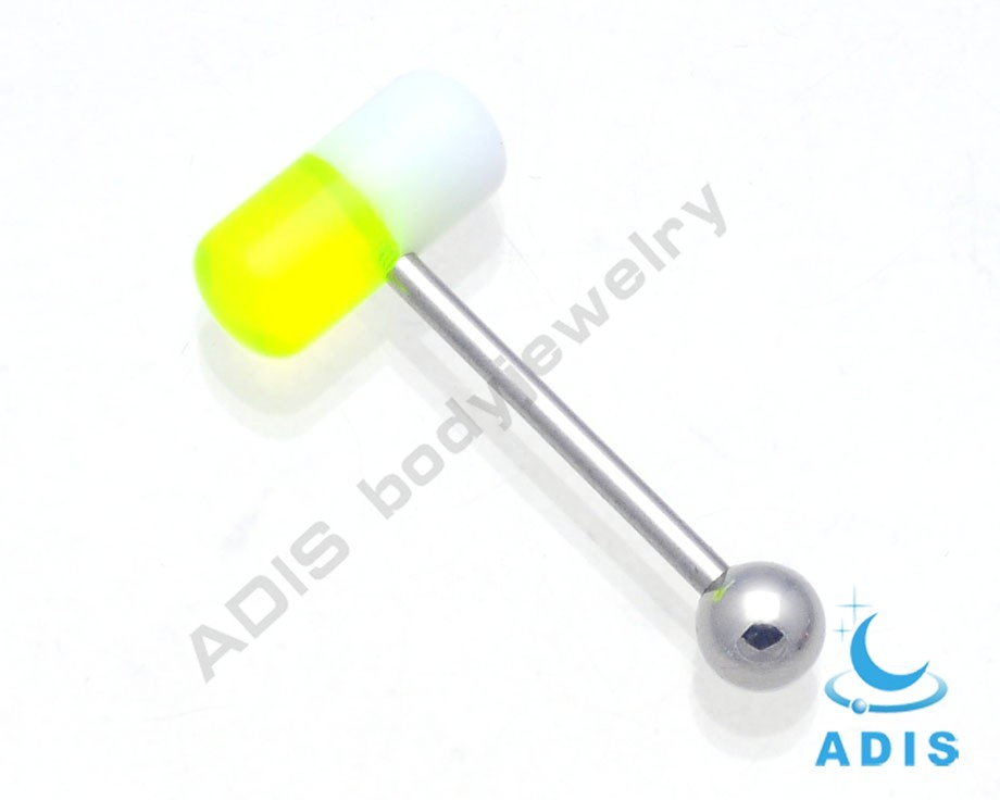 fashion body jewelry piercing unique design acrylic tongue fake barbell