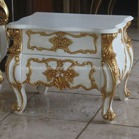 Antique Bedside Tables - White Painted Racoco Bedside With Gilded Carving