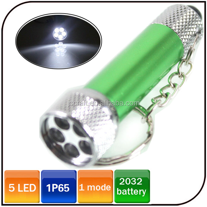 Waterproof promotional keyring torch Aluminum 5 led keychain mini electric flashlight with button cell