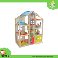 Wooden Doll House with Doll Family and Furniture Set, Girl Games and Fashion