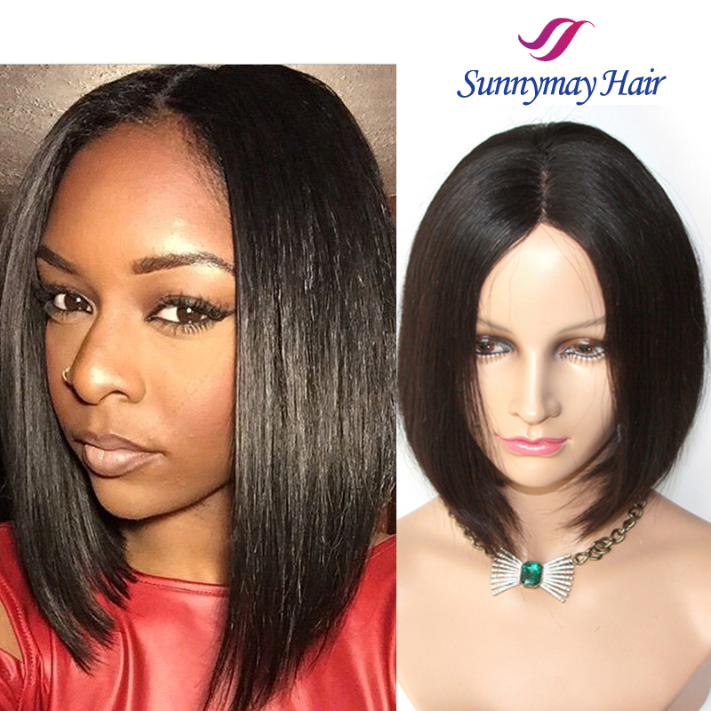 New Fashion Stock Cheap 130% Density Brazilian Virgin Human Hair Silky Straight U Part Short Bob Lace Front Wig For Women
