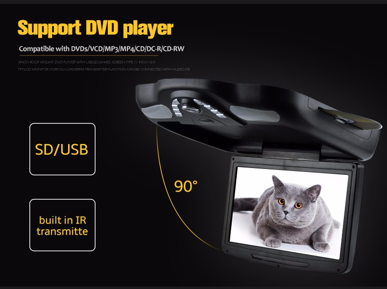 11.6 inch Flipdown DVD with USB port, SD/MMC/MS port, Game system, IR transmitter, speaker