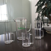 1L clear plastic water jugs with four glasses