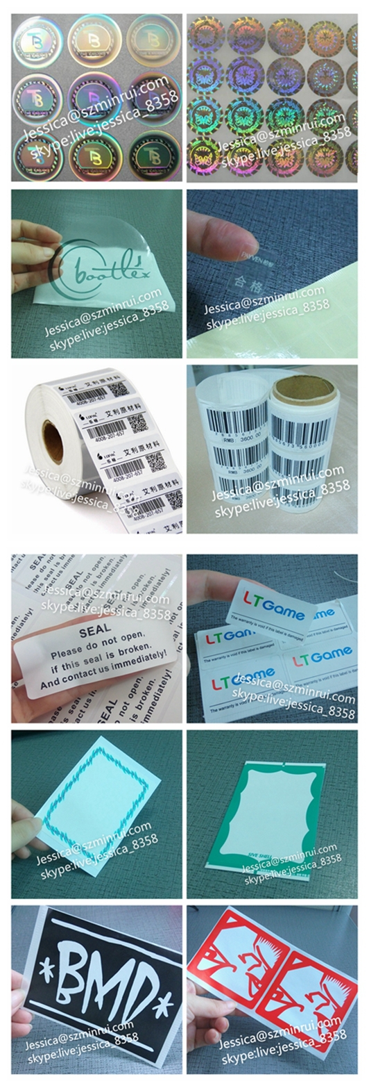 Wholesale Hologram Fragile Security Sticker Paper,Custom Non-removable  Holographic Vinyl Eggshell Adhesive Sticker