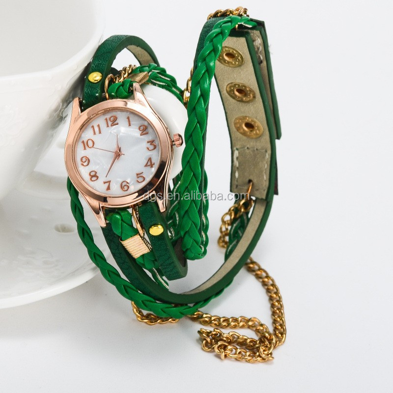 Hot sale custom fashionable vogue watch ladies watch with pu leather strap