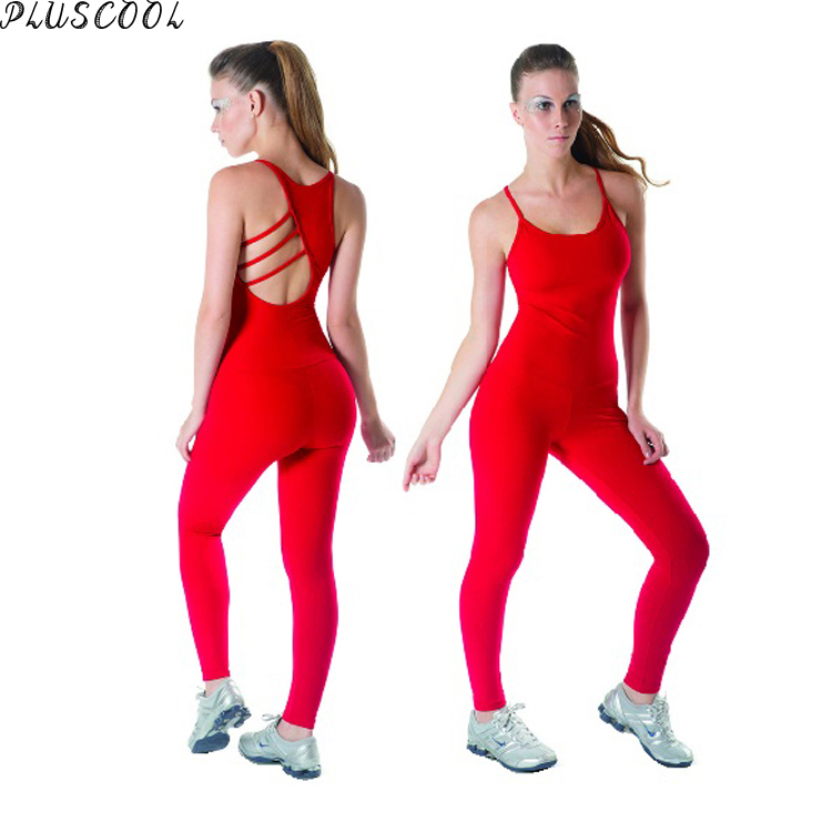 2017 breathable lycra fabric fashion red sexy womens Jumpsuits yoga wear