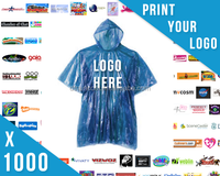 Custom Promotional Logo printed PE Disposable Rain Poncho for outdoor events
