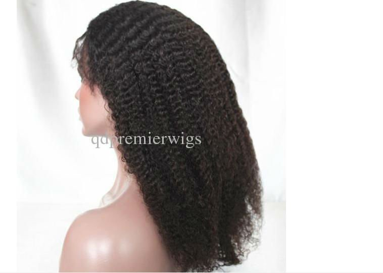 "2012 Brand New 8-24"" Afro Kinky Curl natural color Indian Remy Human Hair Full Lace Wigs Medium Cap"
