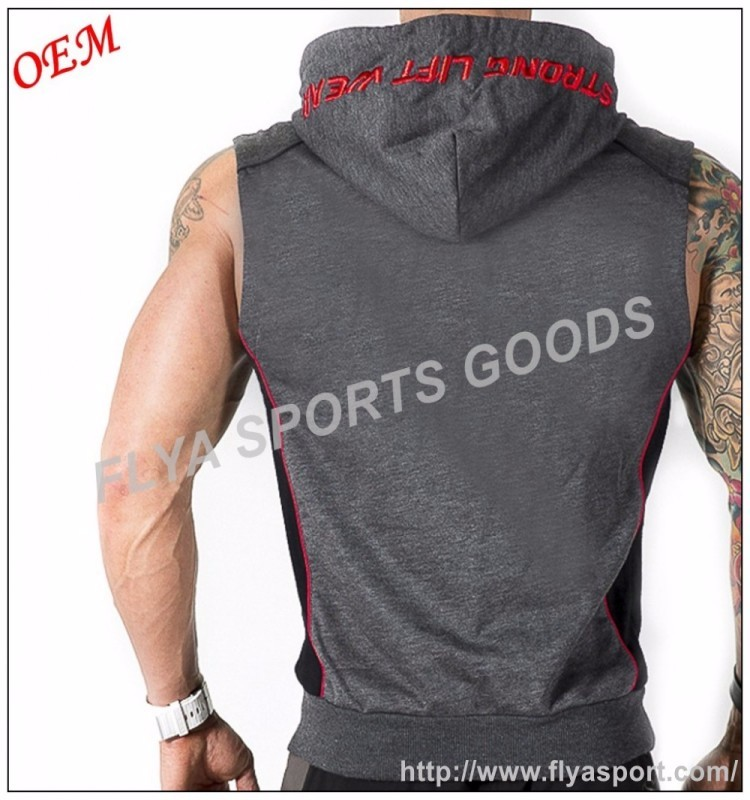 wholesale lightweight fabric front pocket black sleeveless half zip hoodies