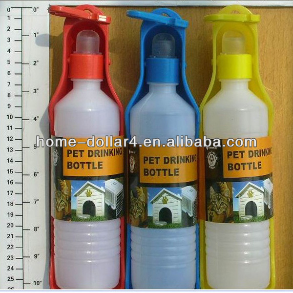 0.5L plastic and colorful portable pet Drinking bottle for dog and cat pet Drinking bottle