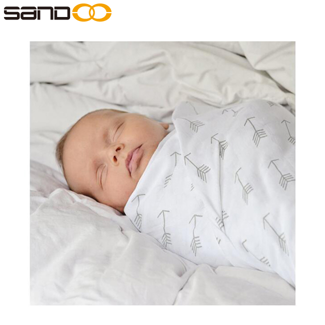 Sandoo al por mayor transpirable 100% algodón muselina mantas swaddle bebé